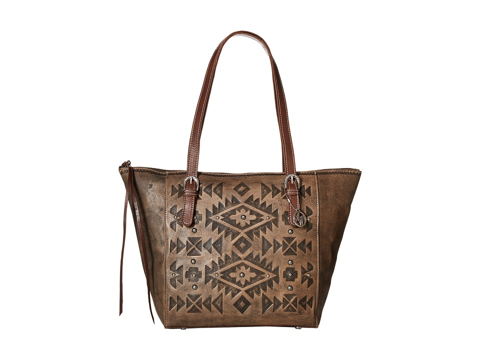 American West - Mystic Shadow Bucket Tote (Distressed Charcoal Brown/Chestnut Brown) Tote Handbags