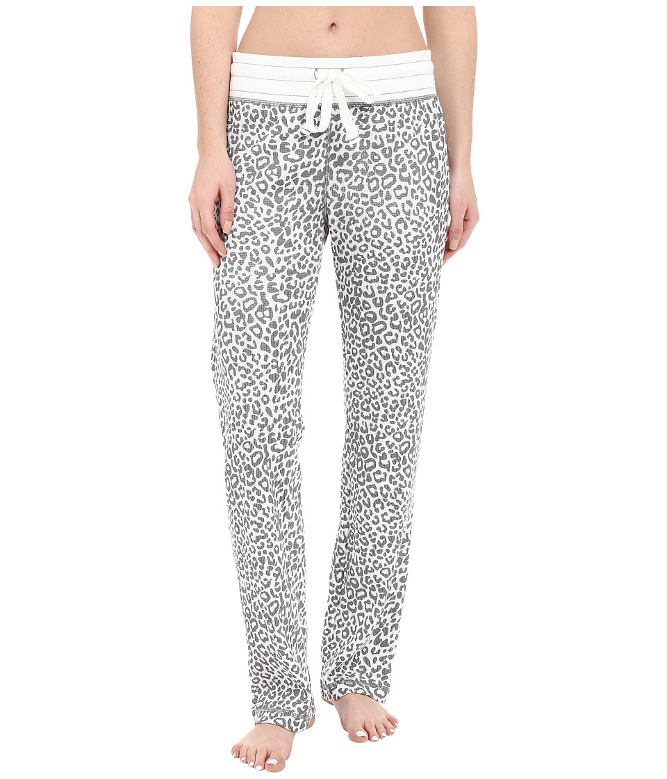 Dylan by True Grit - Vintage Washed Waffle Chic Cheetah PJ Pants (Faded White/Grey) Women's Pajama
