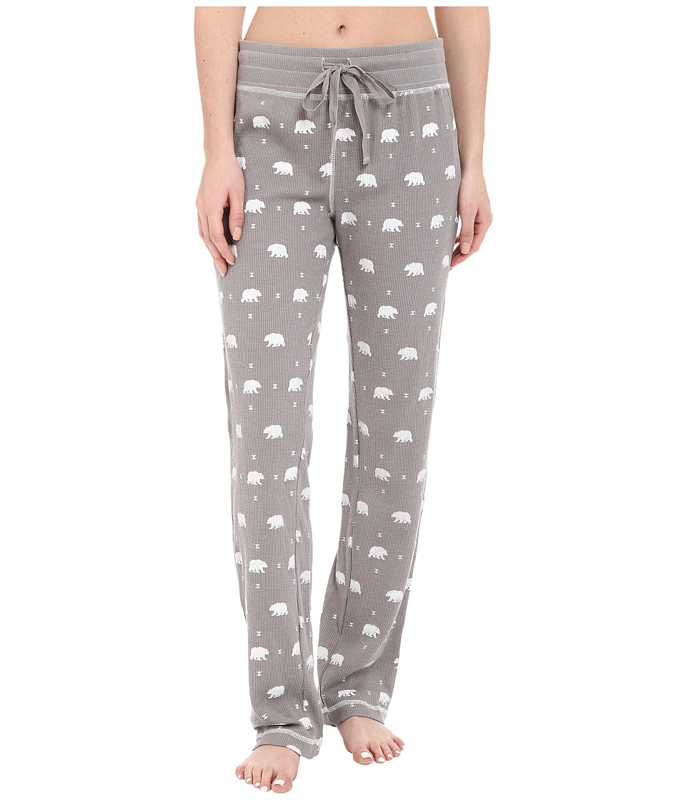 Dylan by True Grit - Vintage Washed Waffle Native Bears PJ Pants (Silver Grey/White) Women