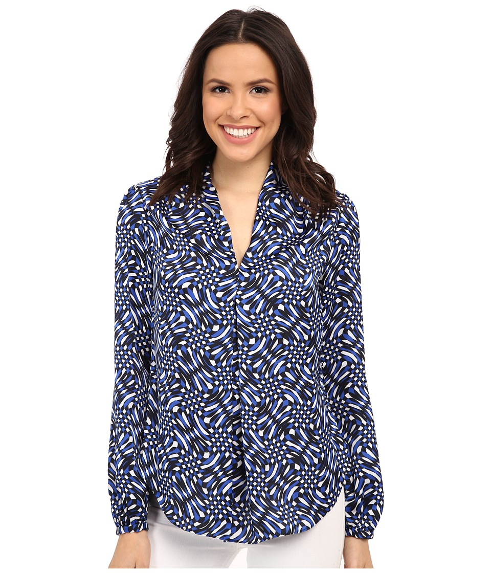 MICHAEL Michael Kors - Mercer Print V-Neck Top (Amalfi Blue) Women's Blouse