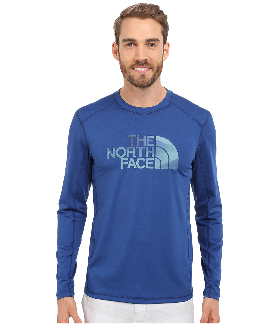 The North Face - Long Sleeve Sink or Swim Rashguard (Limoges Blue/Mountain Water Color Print) Men's Swimwear