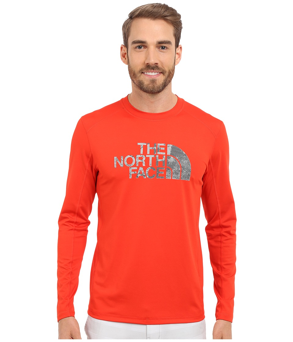 The North Face Long Sleeve Sink or Swim Rashguard (Fiery Red/Asphalt Grey Moss Print) Men