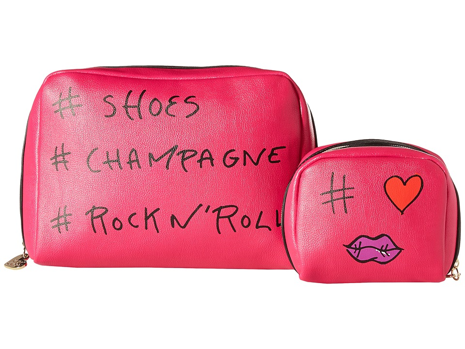 Betsey Johnson - #SCR Two-Piece Cosmetic Set (Fuchsia) Cosmetic Case