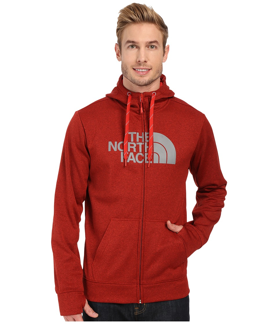 The North Face - Surgent Half Dome Full Zip Hoodie (Pompeian Red Heather/Mid Grey) Men's Sweatshirt
