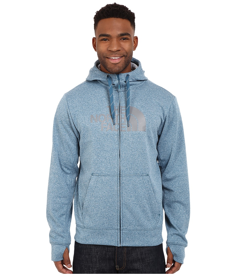The North Face - Surgent Half Dome Full Zip Hoodie (Blue Coral Heather/Mid Grey) Men's Sweatshirt