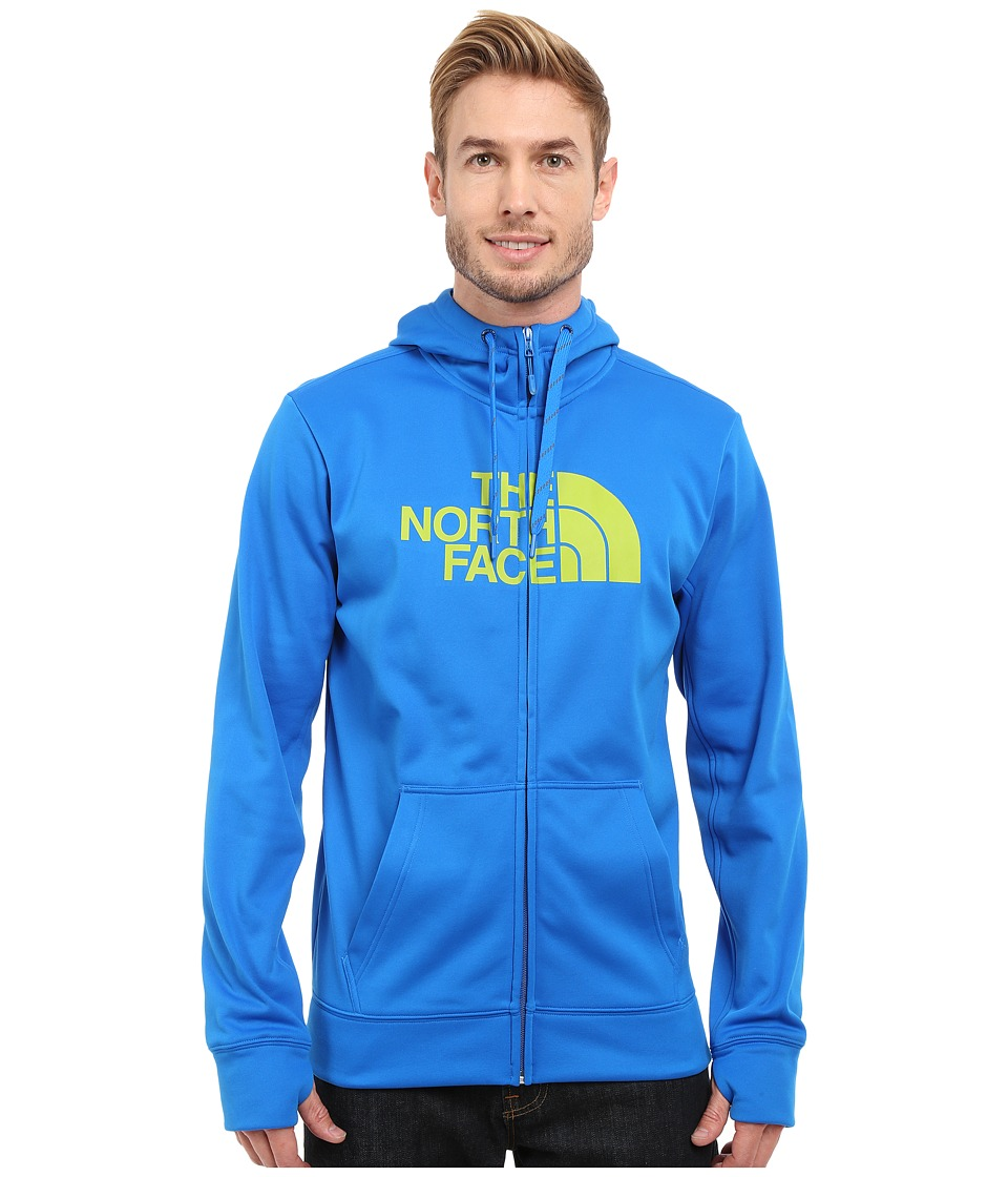 The North Face - Surgent Half Dome Full Zip Hoodie (Bomber Blue/Macaw Green) Men's Sweatshirt
