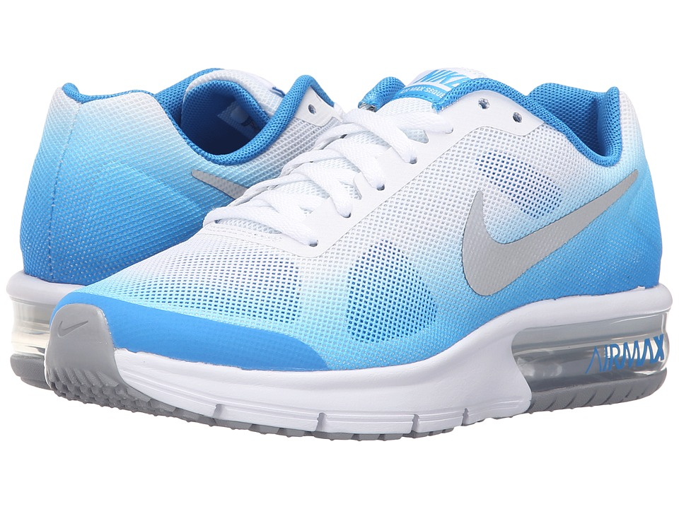 Nike Kids - Air Max Sequent (Big Kid) (Photo Blue/White/Photo Blue/Metallic Silver) Boys Shoes