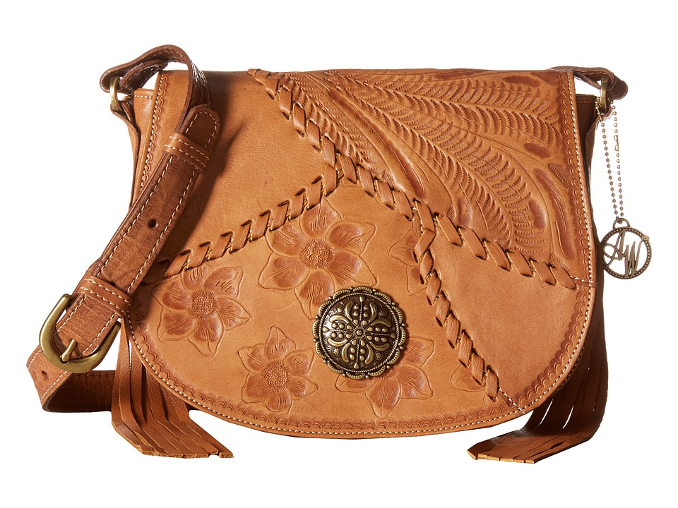 American West - Soho Groove Saddle Flap Crossbody (Golden Tan) Cross Body Handbags