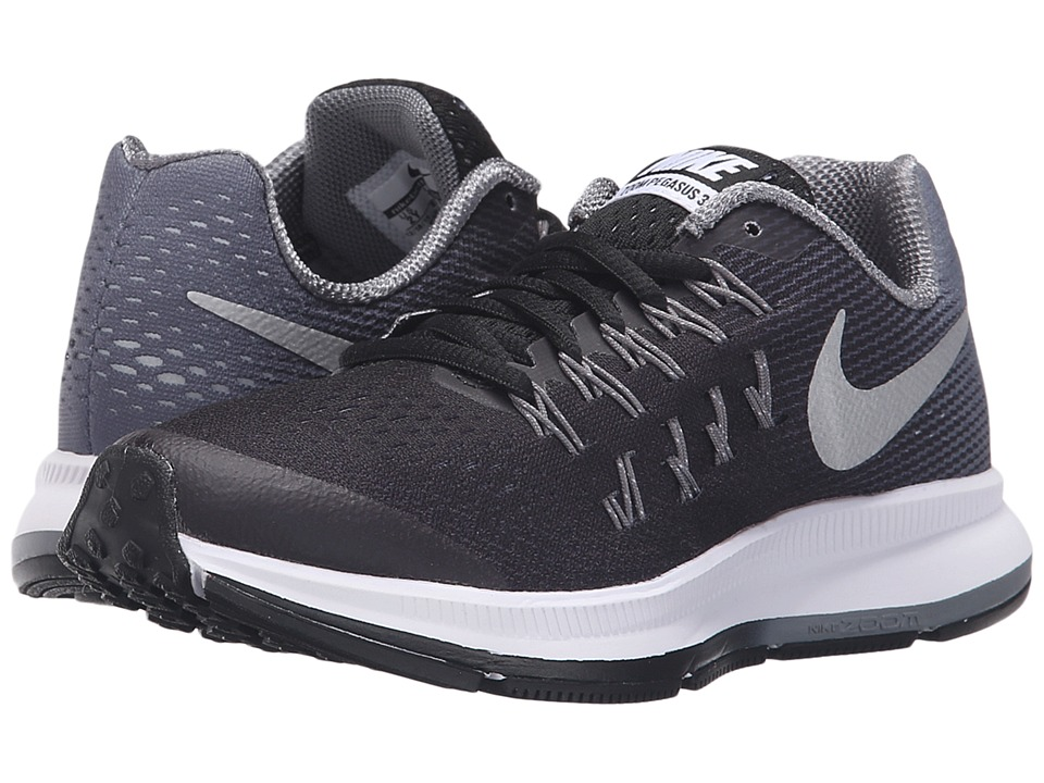 Nike Kids - Zoom Pegasus 33 (Little Kid/Big Kid) (Black/Cool Grey/Wolf Grey/Metallic Silver) Boys Shoes