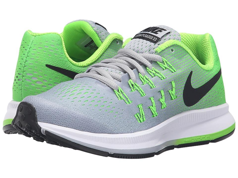Nike Kids - Zoom Pegasus 33 (Little Kid/Big Kid) (Cool Grey/Electric Green/White/Black) Boys Shoes