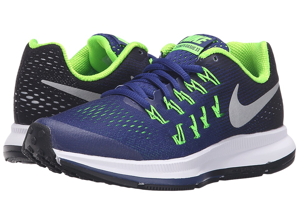 Nike Kids - Zoom Pegasus 33 (Little Kid/Big Kid) (Deep Royal Blue/Black/Electric Green/Metallic Silver) Boys Shoes