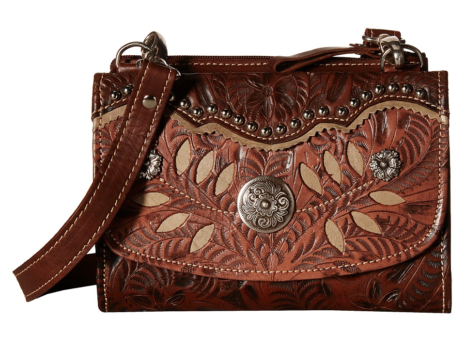 American West - Woodland Bloom Crossbody/Wallet (Chestnut Brown/Dusty Rose/Sand) Cross Body Handbags