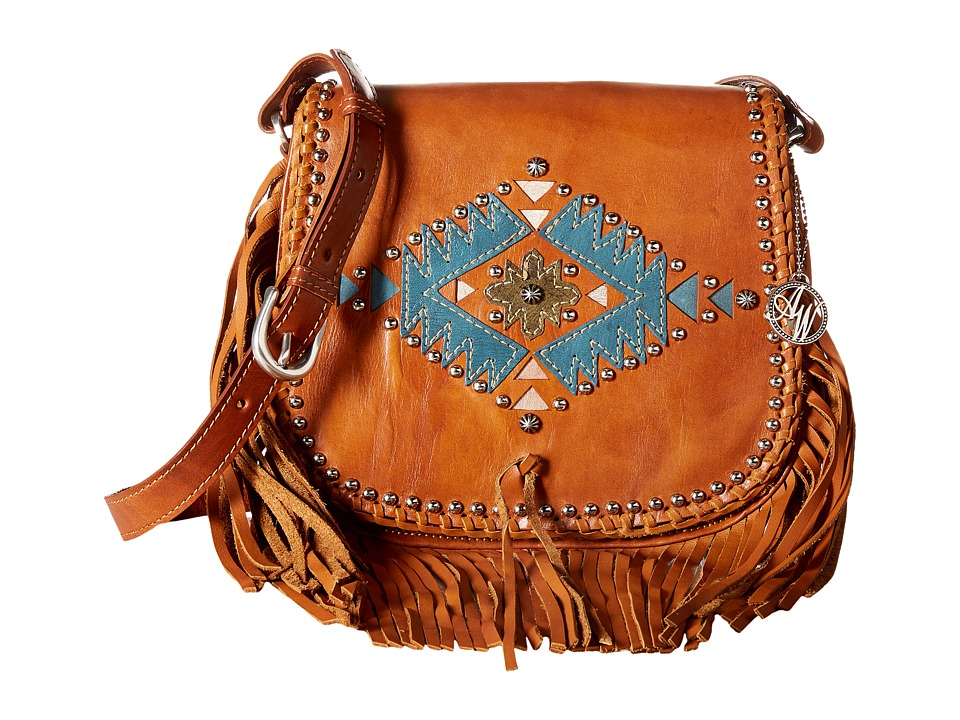 American West - Pueblo Moon Fringe Flap Crossbody (Golden Tan) Cross Body Handbags