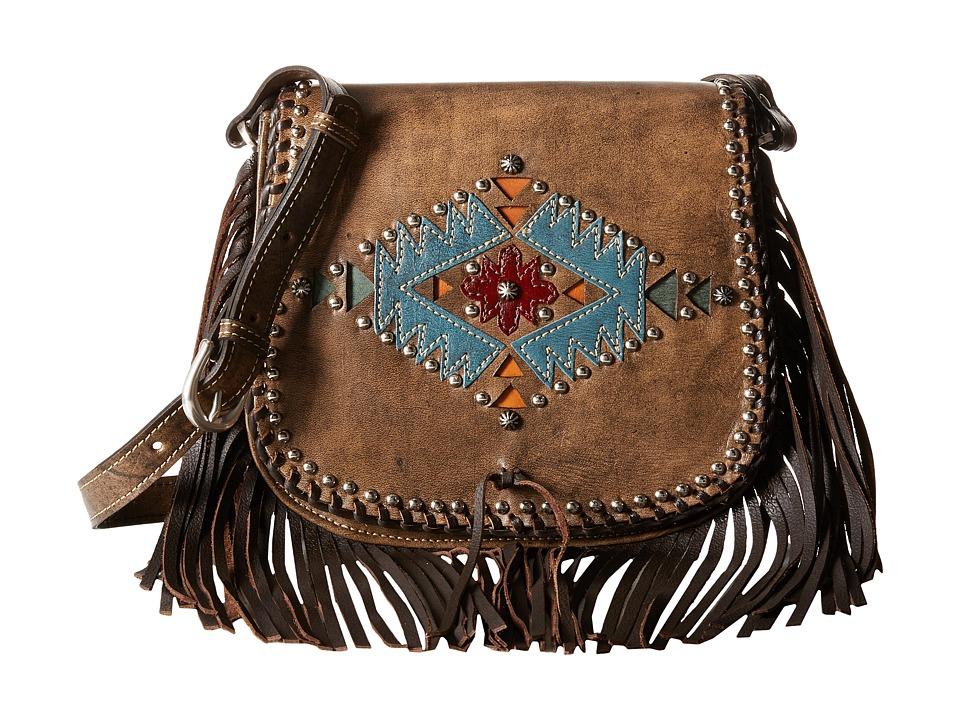 American West - Pueblo Moon Fringe Flap Crossbody (Distressed Charcoal Brown) Cross Body Handbags