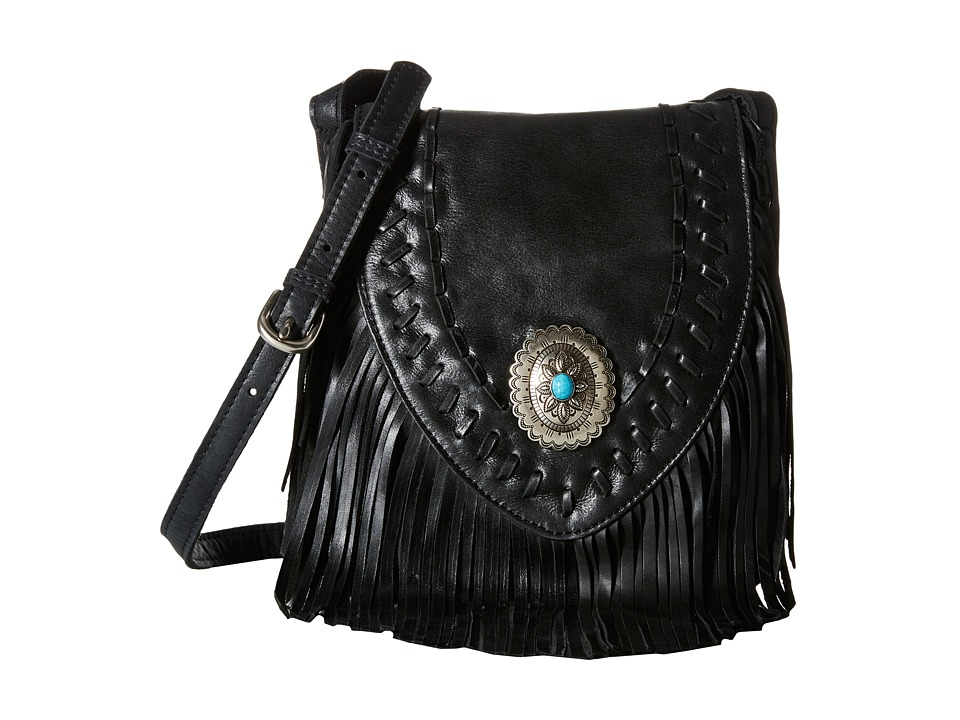 American West - Seminole Soft Fringe Crossbody (Charcoal) Cross Body Handbags