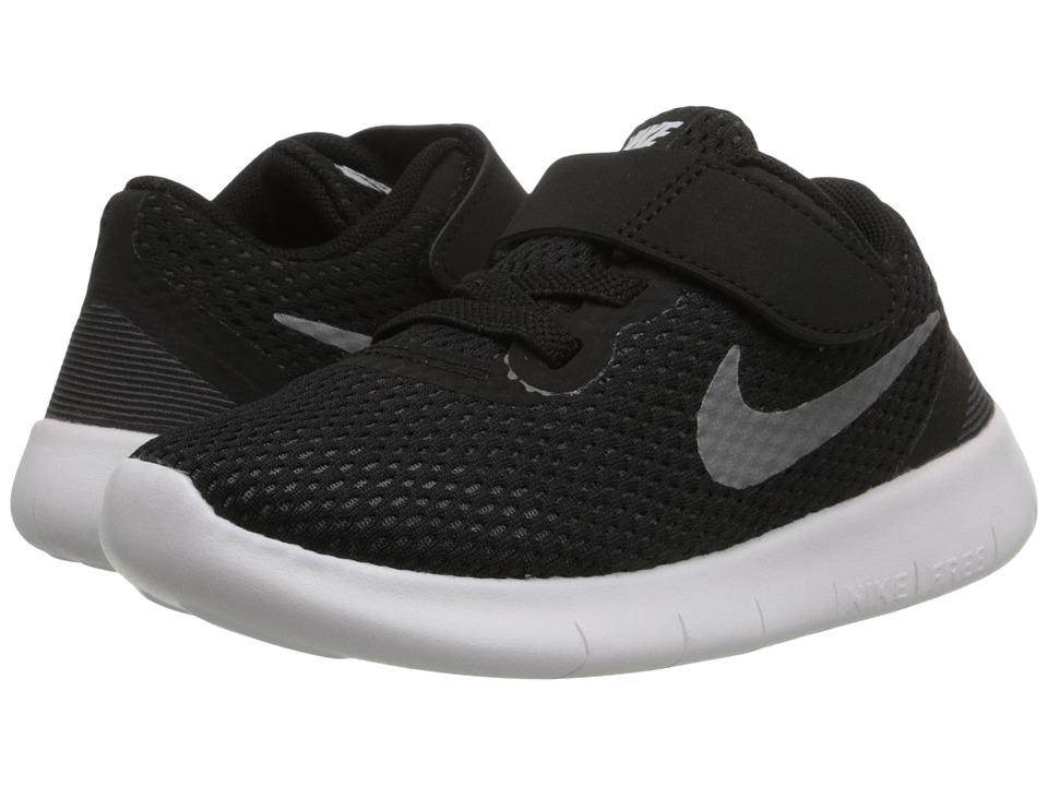 Nike Kids Free RN (Infant/Toddler) (Black/Anthracite/Metallic Silver) Boys Shoes