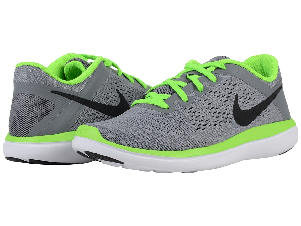 Nike Kids Flex 2016 RN (Big Kid) (Cool Grey/White/Electric Green/Black) Boys Shoes