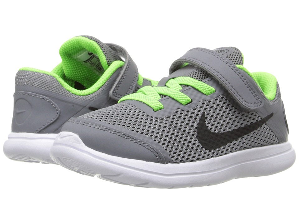 Nike Kids - Flex 2016 RN (Infant/Toddler) (Cool Grey/White/Electric Green/Black) Boys Shoes