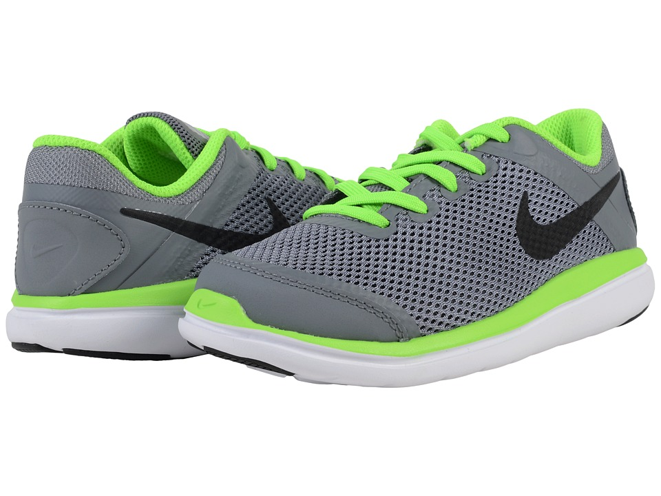 Nike Kids - Flex 2016 RN (Little Kid) (Cool Grey/White/Electric Green/Black) Boys Shoes