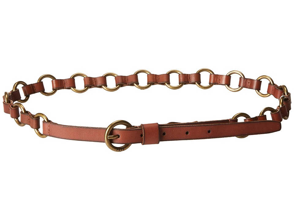 Frye 13mm Leather and Metal Ring Belt on Logo Harness Buckle (Luggage/Antique Brass) Women