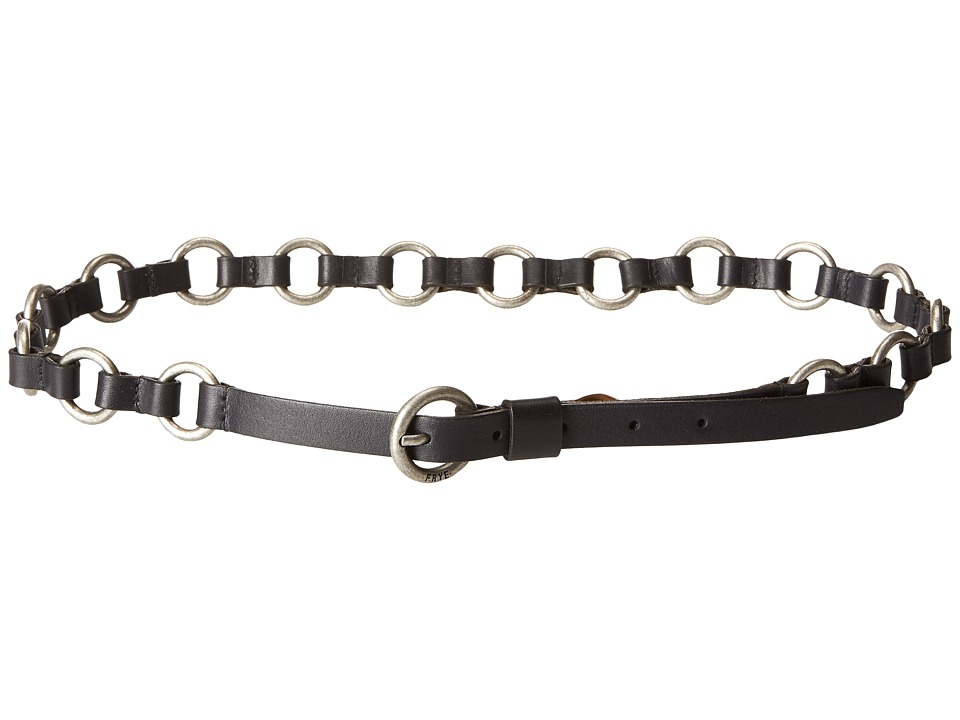 Frye - 13mm Leather and Metal Ring Belt on Logo Harness Buckle (Black/Antique Nickel) Women's Belts