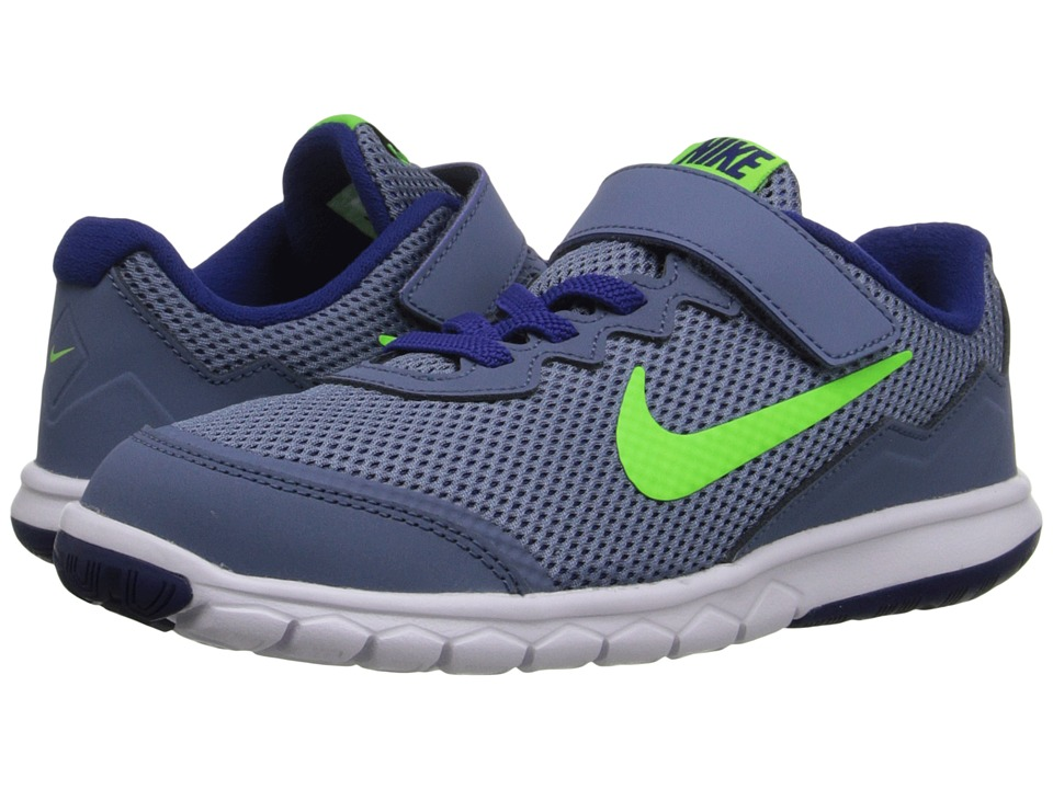 Nike Kids Flex Experience 4 (Little Kid) (Ocean Fog/White/Deep Royal Blue/Electric Green) Boys Shoes