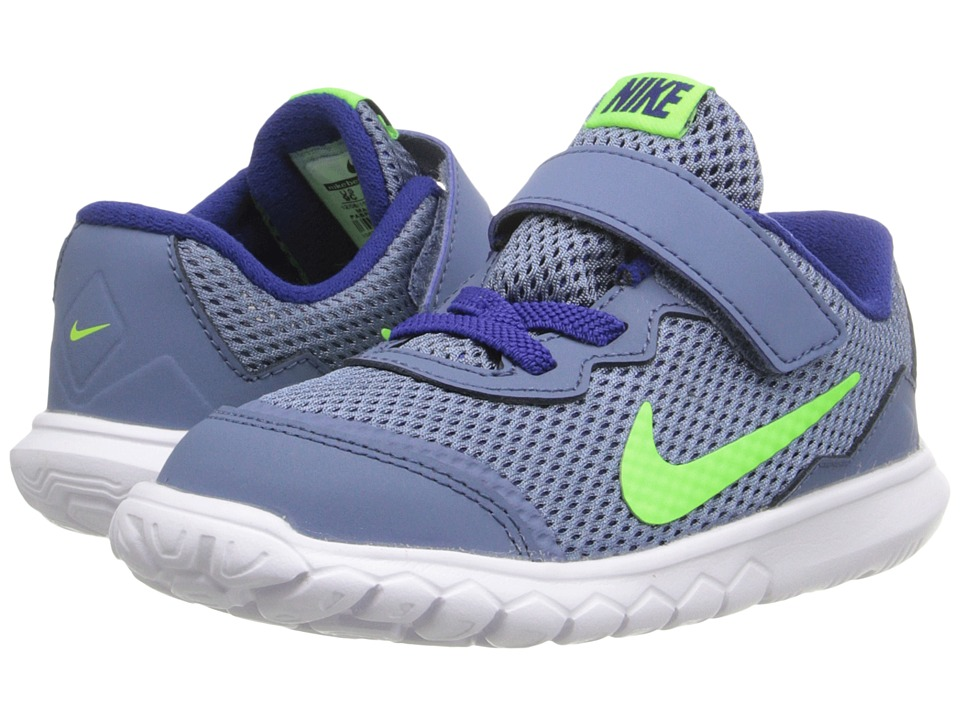 Nike Kids - Flex Experience 4 (Infant/Toddler) (Ocean Fog/White/Deep Royal Blue/Electric Green) Boys Shoes