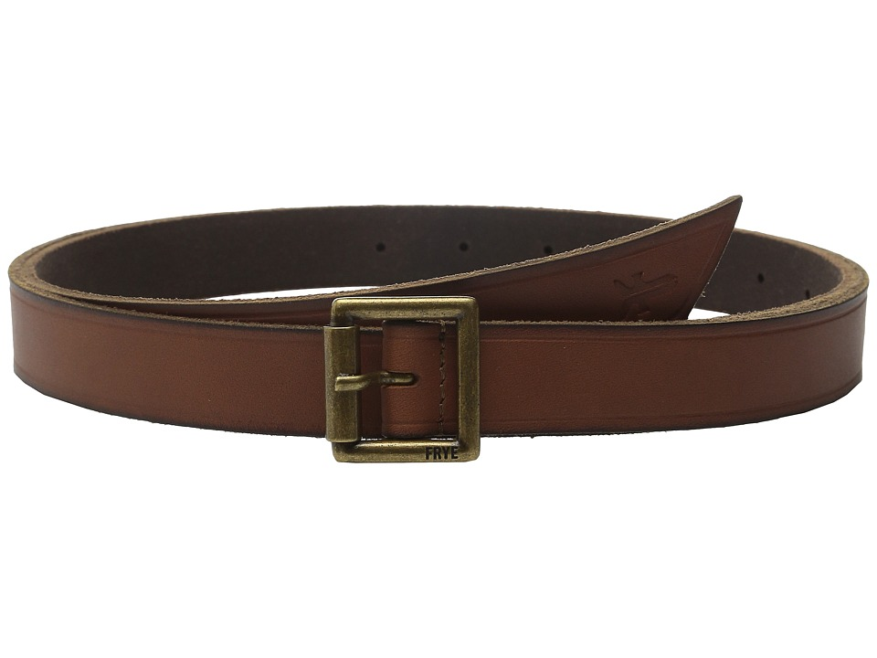 Frye - 25mm Leather Belt with Heat Crease and Wrap Front Tip (Luggage/Antique Brass) Women's Belts