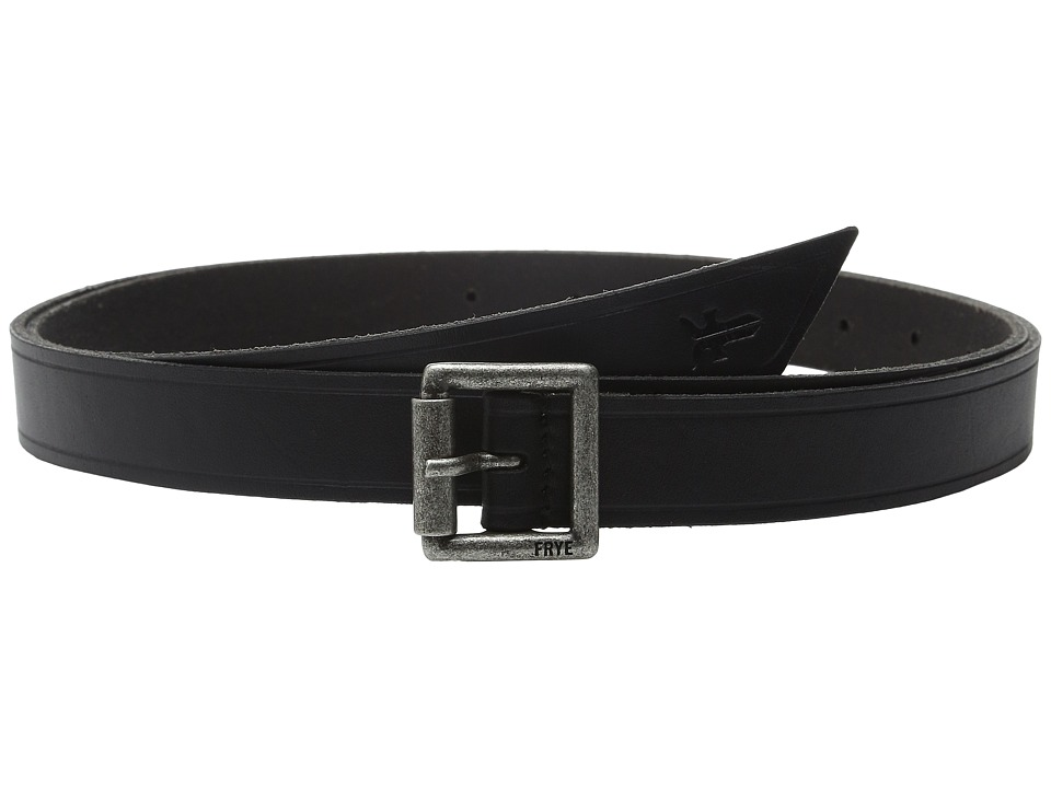 Frye - 25mm Leather Belt with Heat Crease and Wrap Front Tip (Black/Antique Nickel) Women's Belts