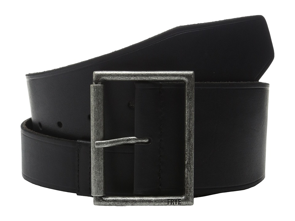 Frye - 65mm Shaped Leather Belt with Heat Crease on Pilgrim Roller Buckle (Black/Antique Nickel) Women's Belts