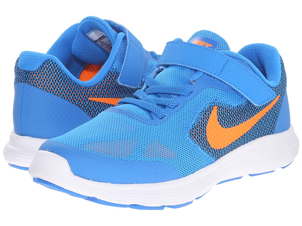 Nike Kids - Revolution 3 (Little Kid) (Photo Blue/Black/White/Total Orange) Boys Shoes