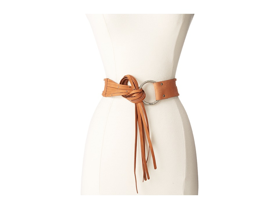 Frye - 45mm Pebble Leather Fringe Belt with Ring Buckle (Cognac/Antique Nickel) Women's Belts