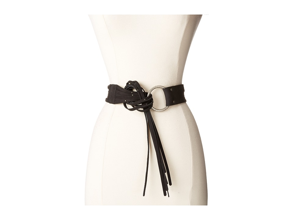 Frye - 45mm Pebble Leather Fringe Belt with Ring Buckle (Black/Antique Nickel) Women