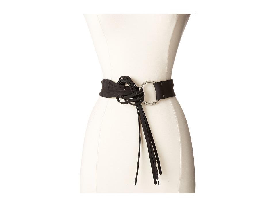 Frye - 45mm Pebble Leather Fringe Belt with Ring Buckle (Black/Antique Nickel) Women's Belts