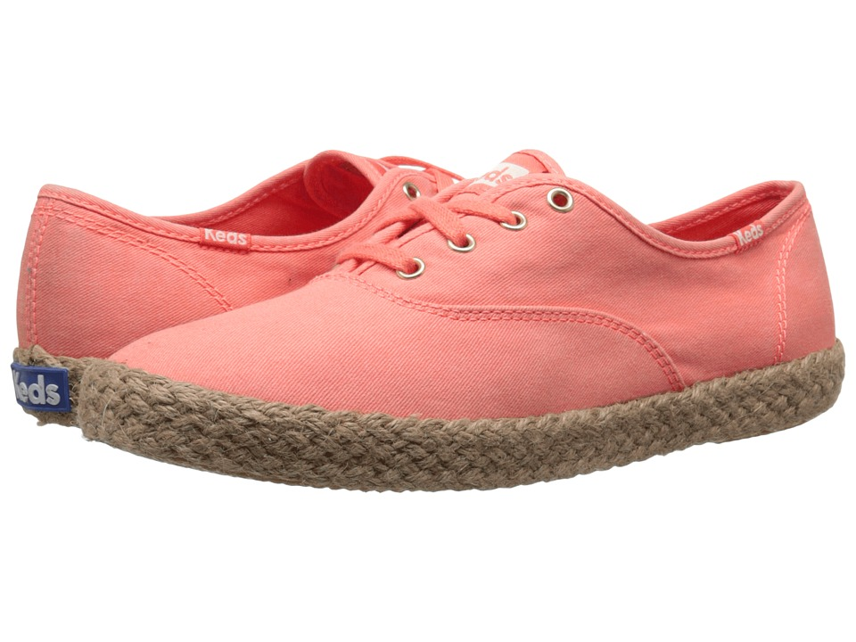 Keds - Champ Washed Jute (Coral) Women's Shoes