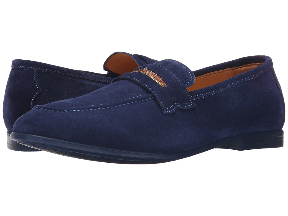Robert Graham - Sandhills (Dark Blue Velour Suede) Men's Slip on Shoes
