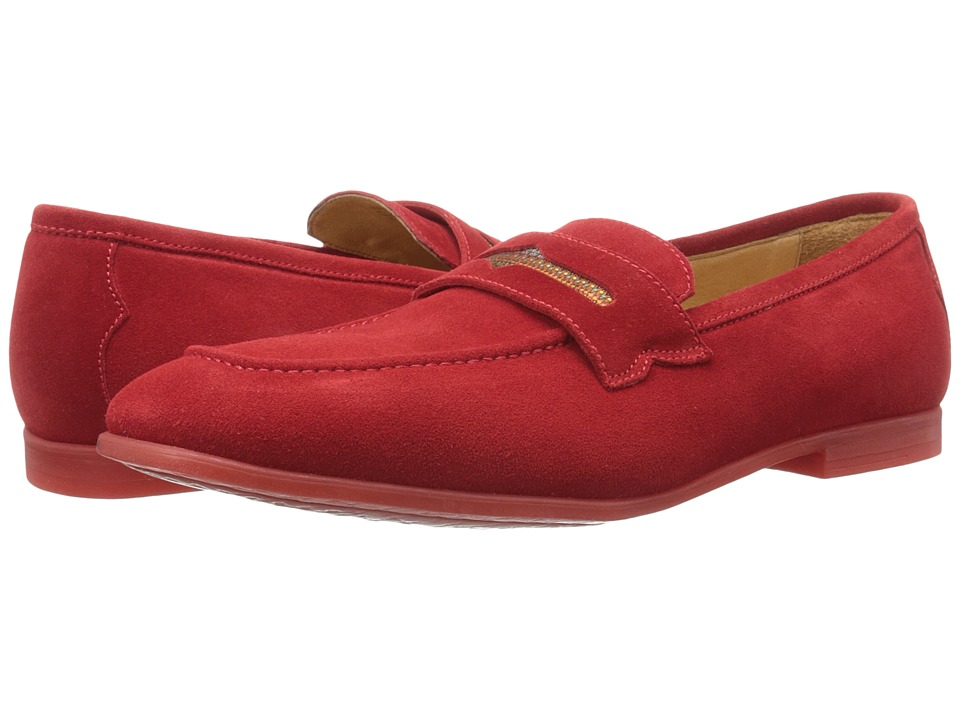 Robert Graham - Sandhills (Dark Red Velour Suede) Men's Slip on Shoes