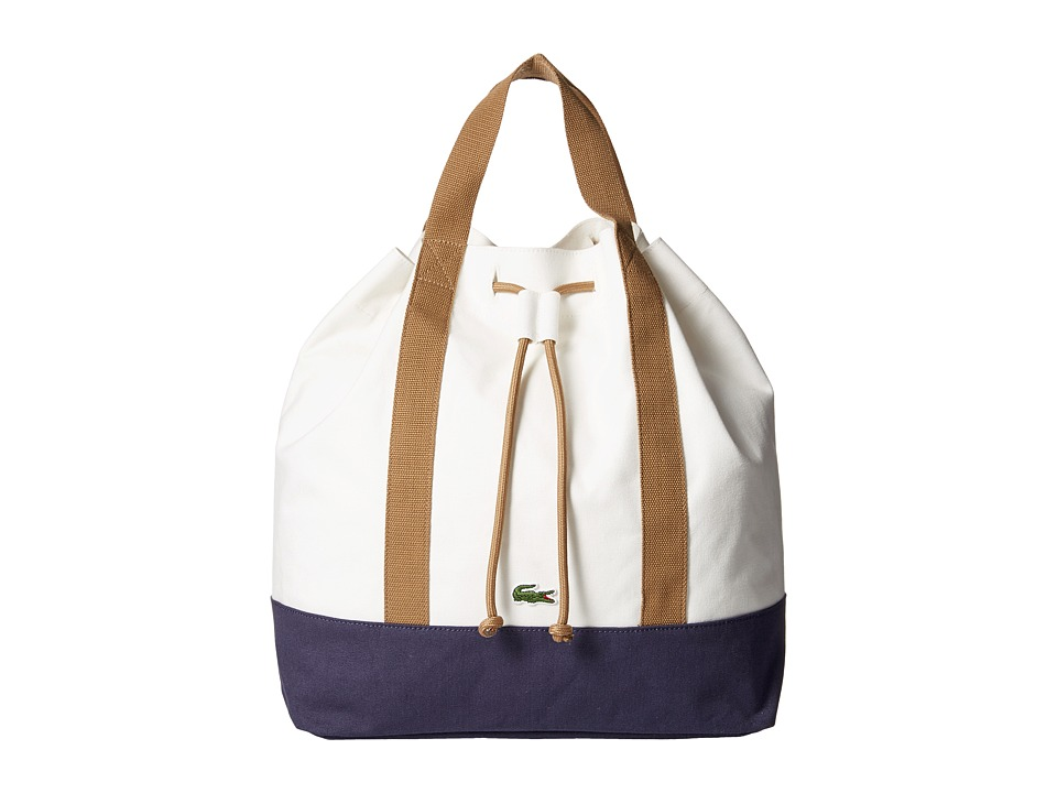 Lacoste - Shopping Backpack (White Peacoat Beige) Backpack Bags