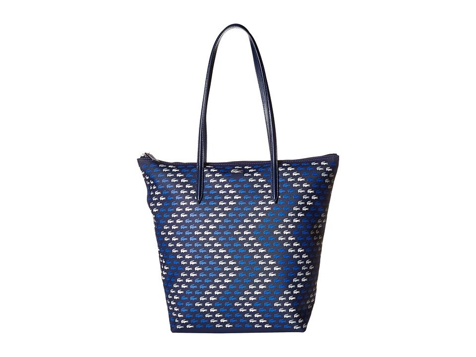Lacoste - Vertical Tote Bag (Croc Peacoat Blue) Tote Handbags