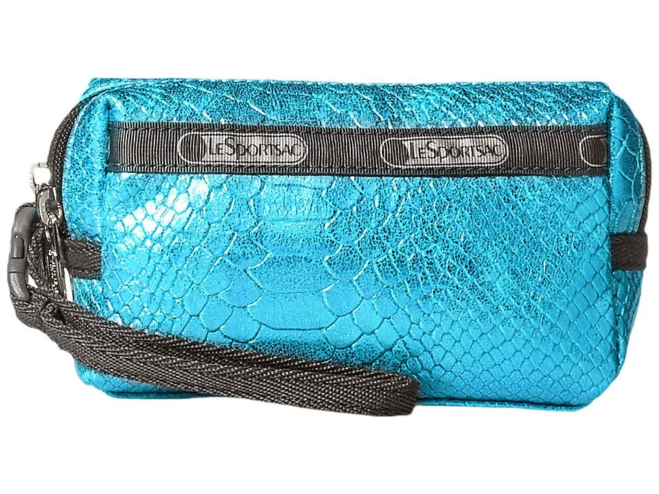 LeSportsac - Small 2 Zip Wristlet (Aqua Snake) Wristlet Handbags