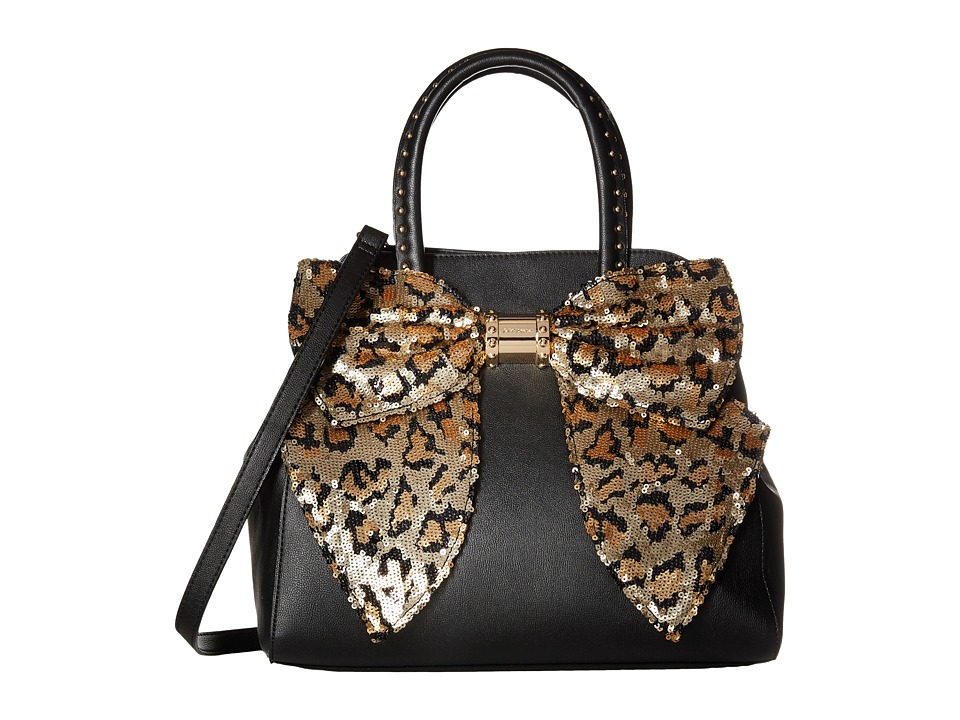 Betsey Johnson - Oh Bow Satchel (Black/Leopard) Satchel Handbags