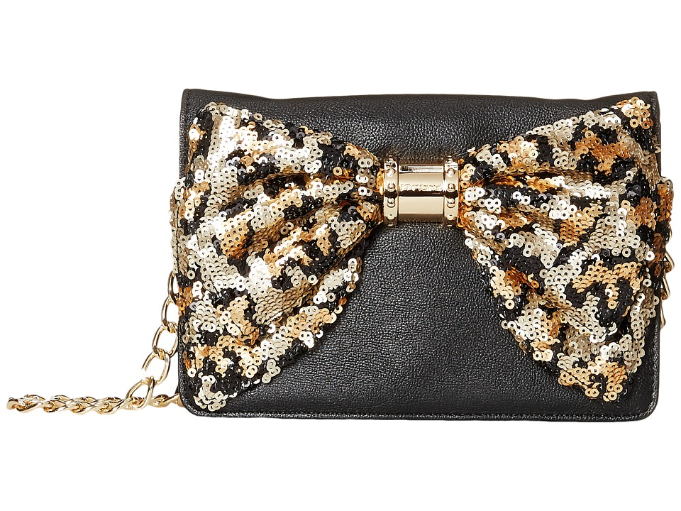 Betsey Johnson - Oh Bow Wallet On A String (Black/Leopard) Cross Body Handbags