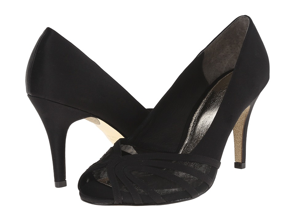 Adrianna Papell - Fergie (Black Satin/Mesh) Women's Shoes