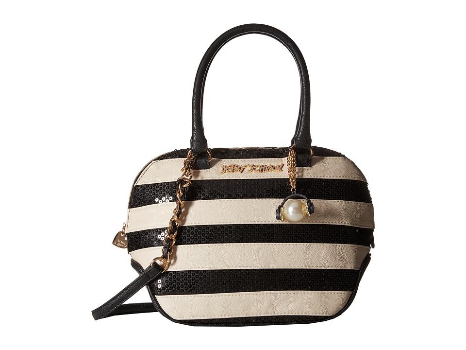 Betsey Johnson - Sequin Satchel (Black/White) Satchel Handbags