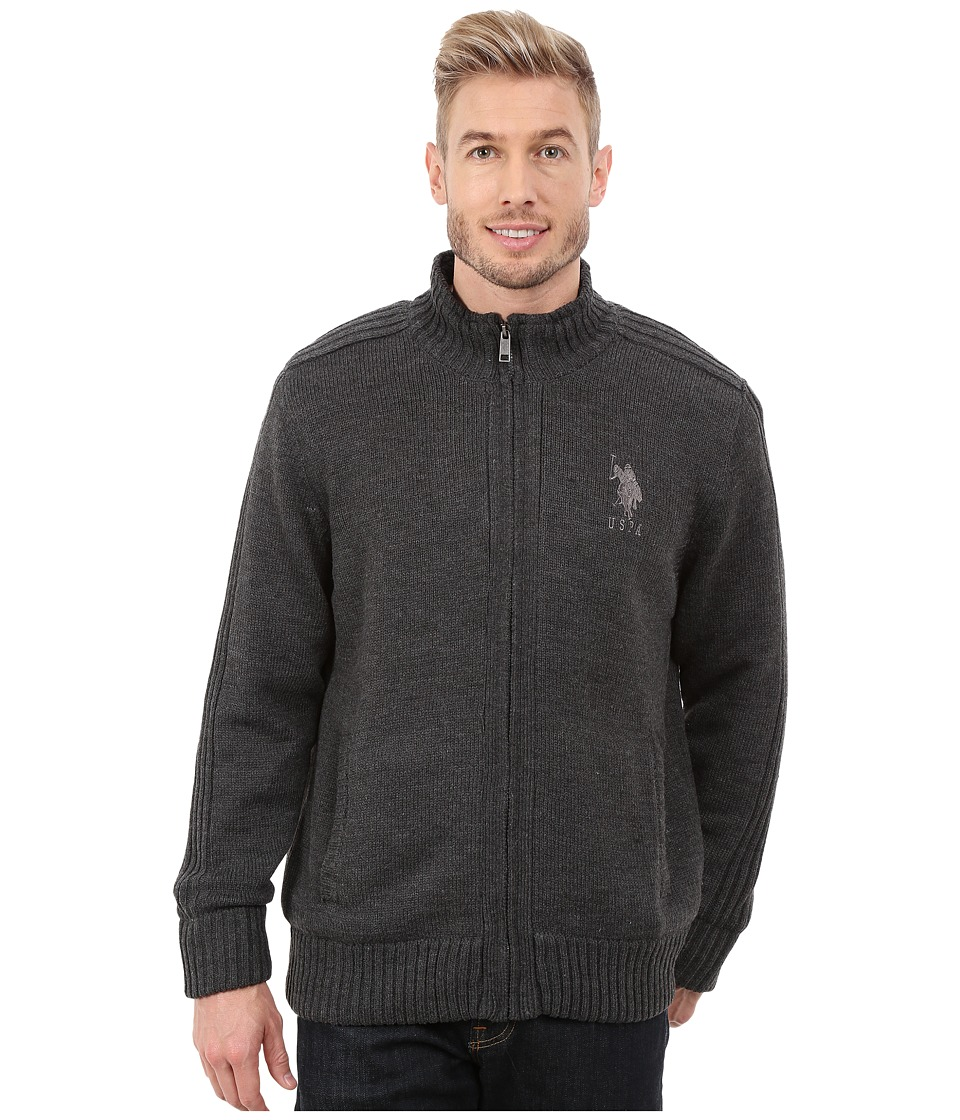 U.S. POLO ASSN. - Sherpa Lined Sweater (Charcoal Heather) Men's Sweater