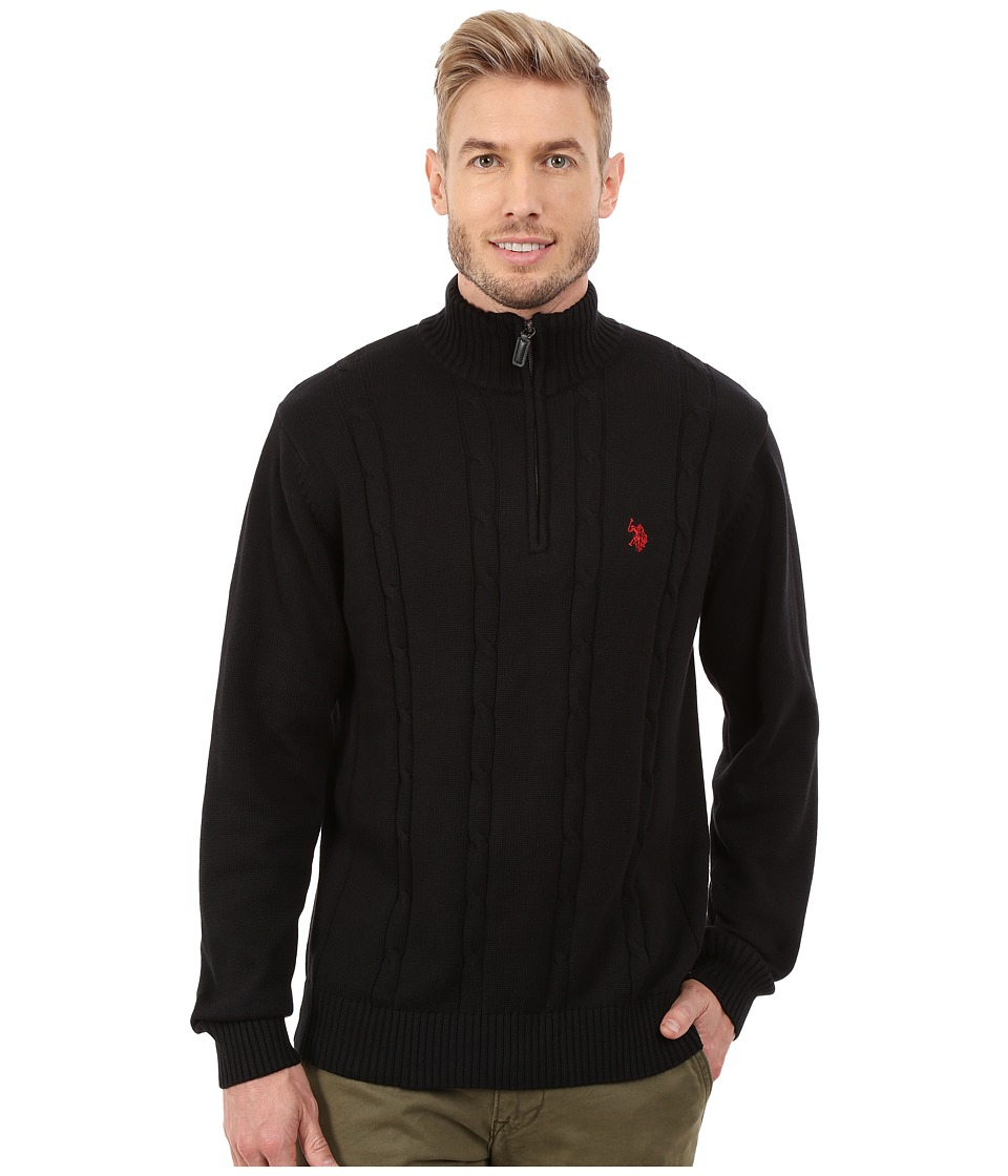 U.S. POLO ASSN. - 1/4 Zip Cable Sweater (Black) Men's Sweater