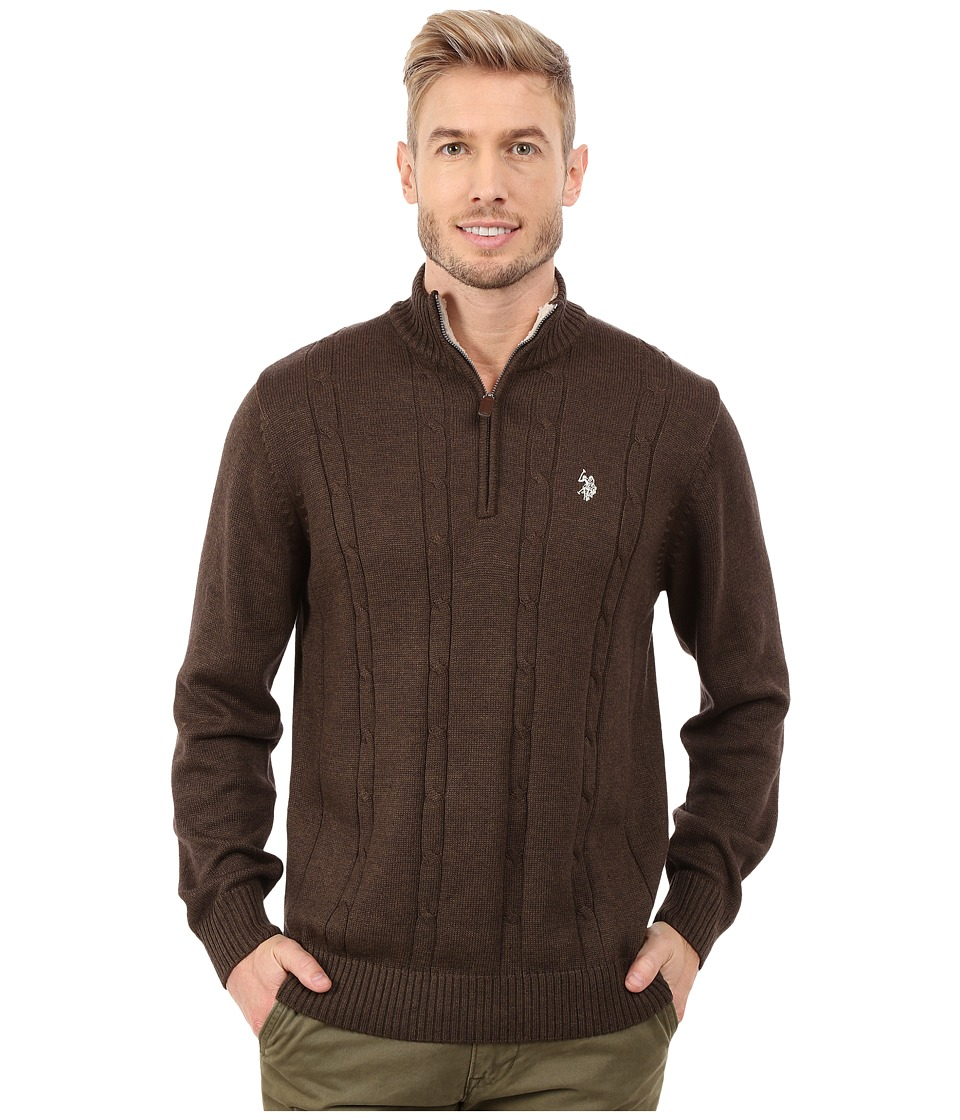 U.S. POLO ASSN. - 1/4 Zip Cable Sweater (Mocha Heather) Men