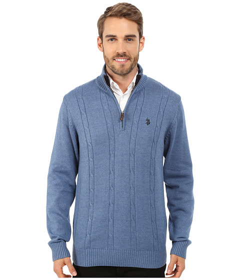 U.S. POLO ASSN. - 1/4 Zip Cable Sweater (Sea Heather) Men