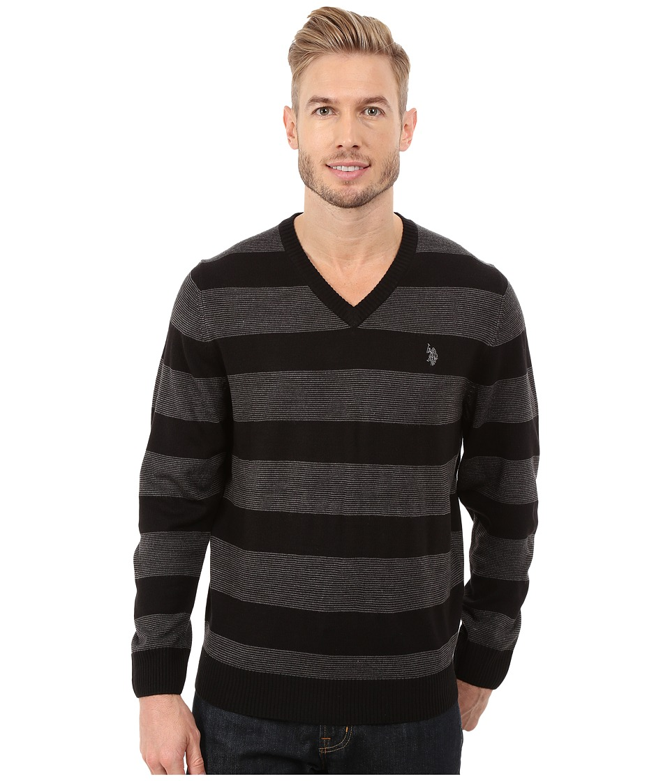 U.S. POLO ASSN. - Stripe V-Neck Sweater (Black) Men