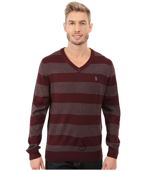 U.S. POLO ASSN. - Stripe V-Neck Sweater (Burgandy) Men's Sweater